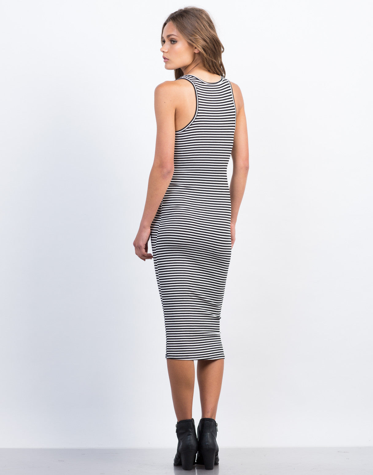 Back View of Ribbed Striped Midi Tank Dress