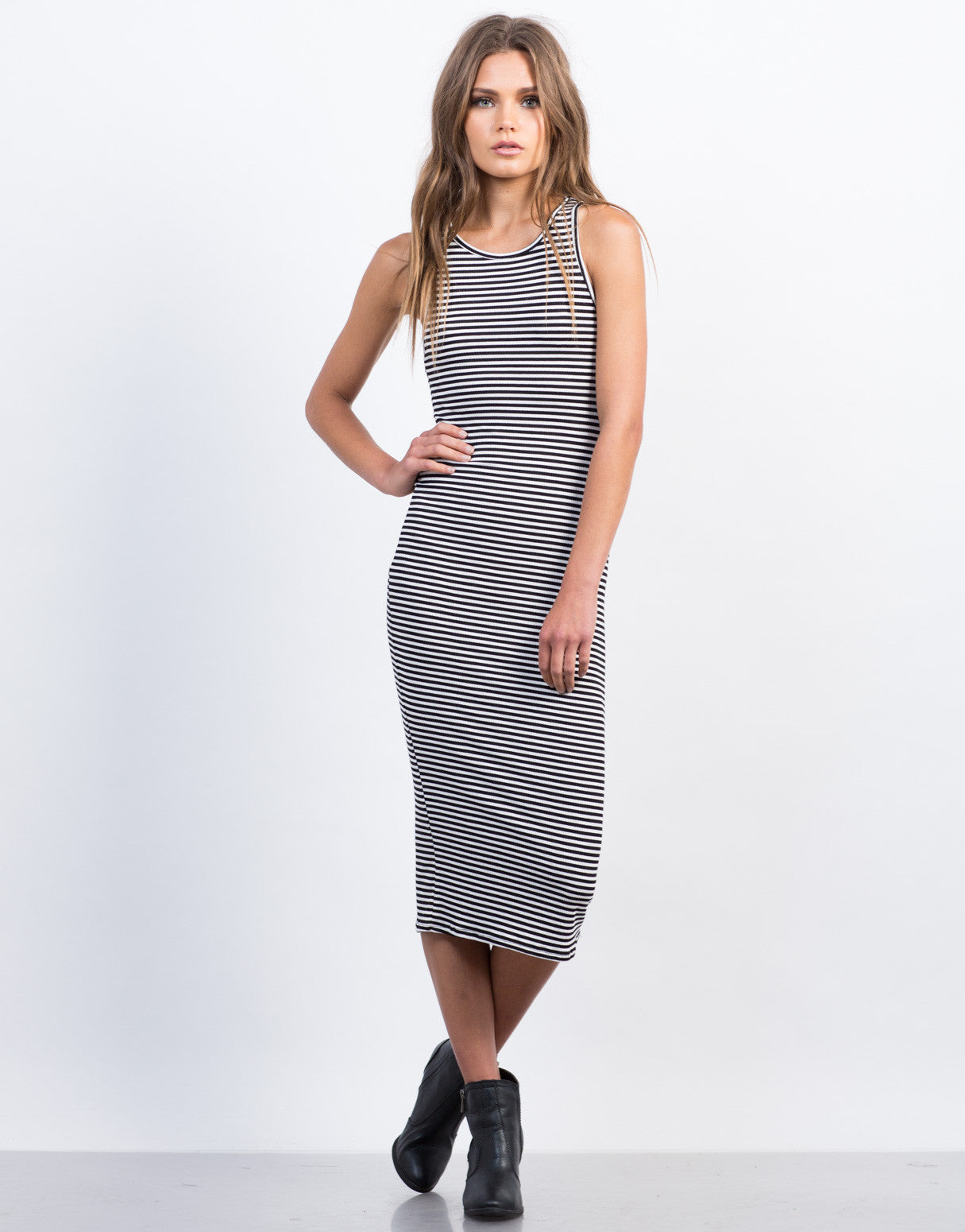 Ribbed Striped Midi Tank Dress - Pin Stripe Tank Dress ...