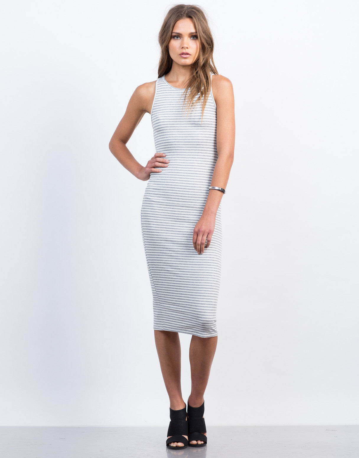 Front View of Ribbed Striped Midi Tank Dress
