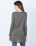 Back View of Ribbed V-Neck Top