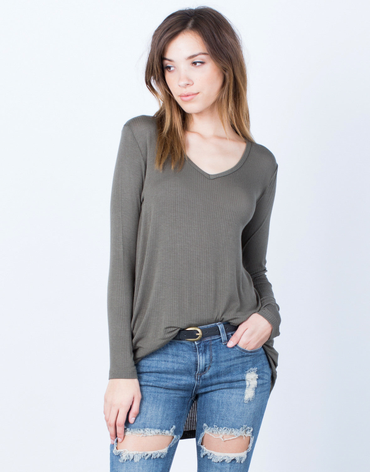 Front View of Ribbed V-Neck Top