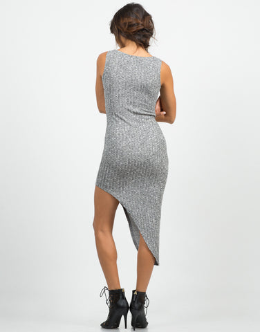 Back View of Back View of Ribbed Asymmetrical Dress
