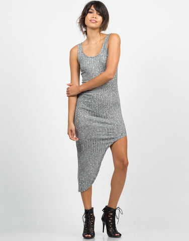 Front View of Front View of Ribbed Asymmetrical Dress