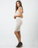 Side View of Ribbed Backless Dress