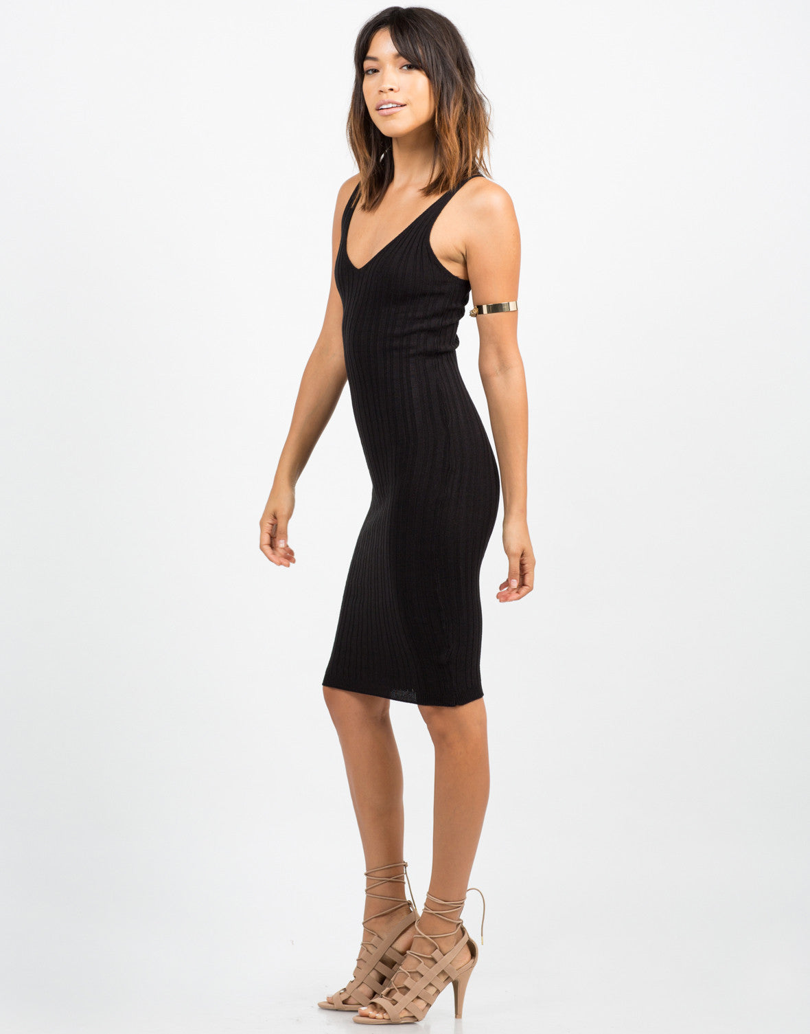 Side View of Ribbed Bodycon Dress