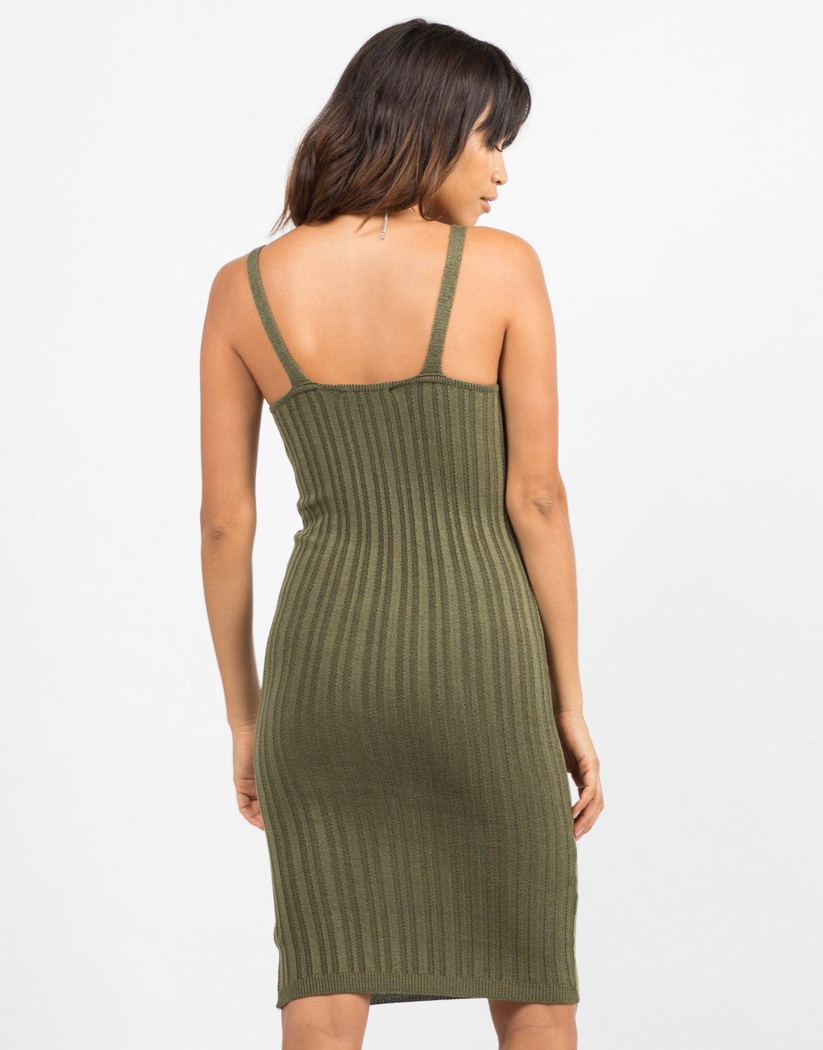 Back View of Ribbed Bodycon Dress