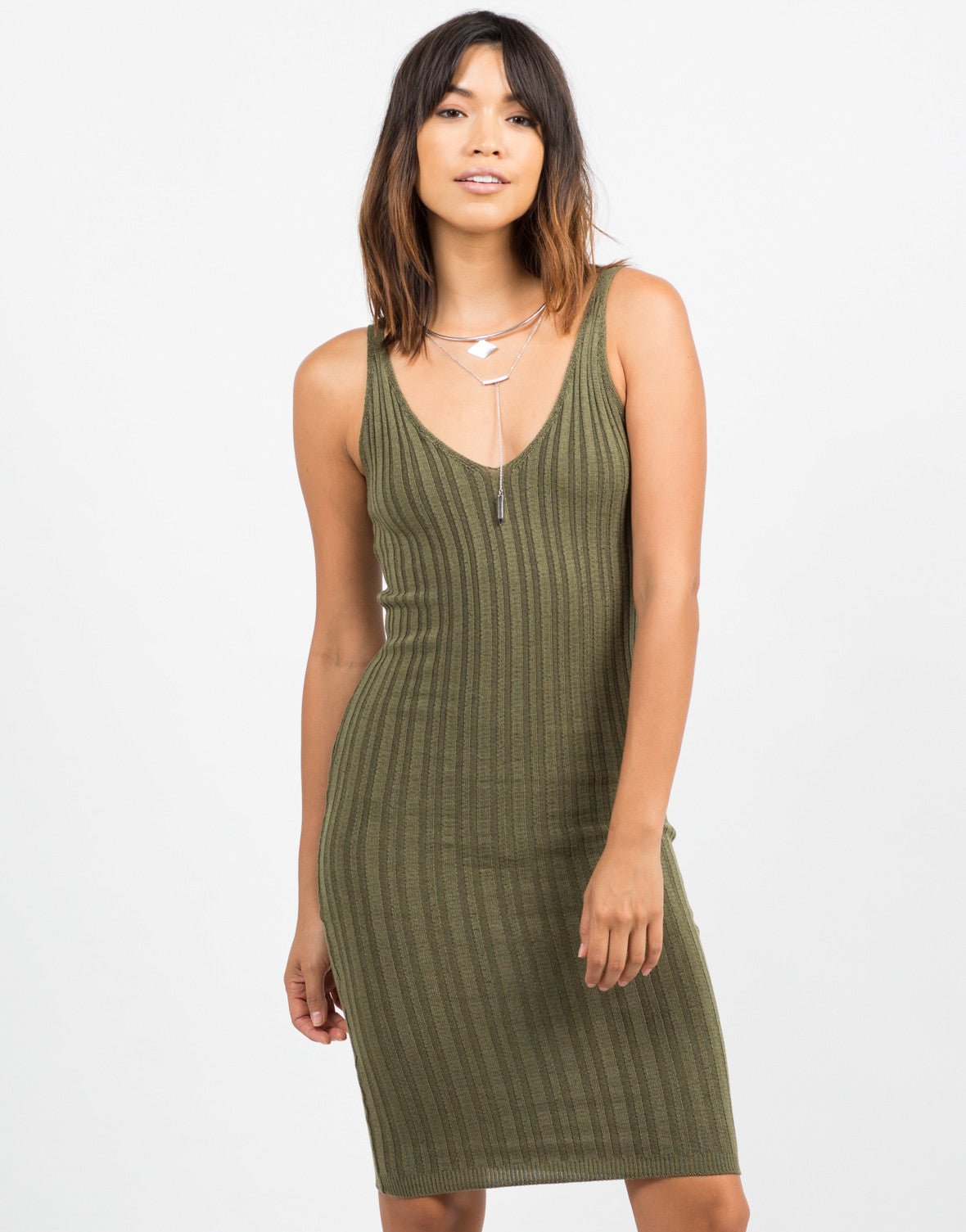 Front View of Ribbed Bodycon Dress