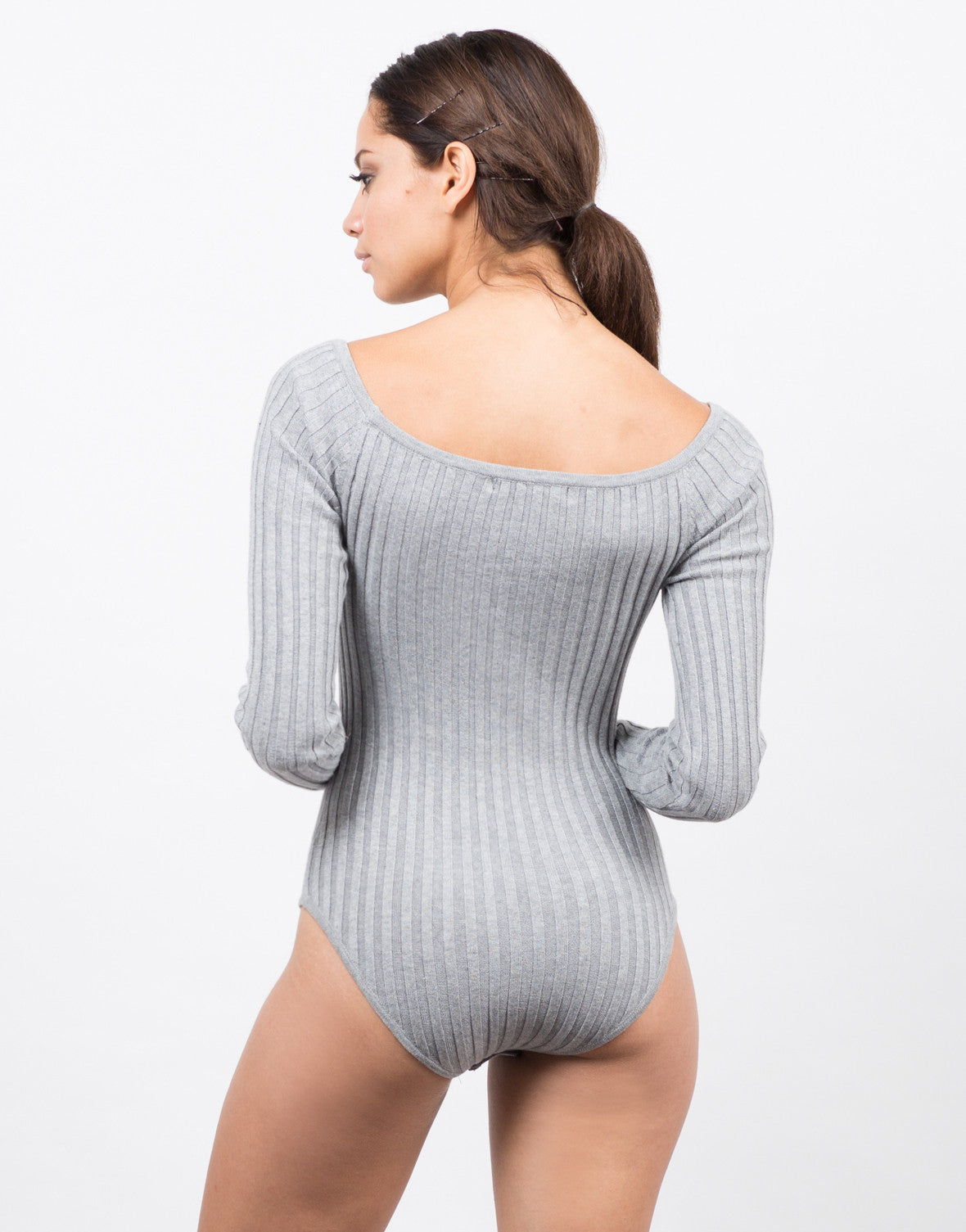 Back View of Ribbed Bodysuit