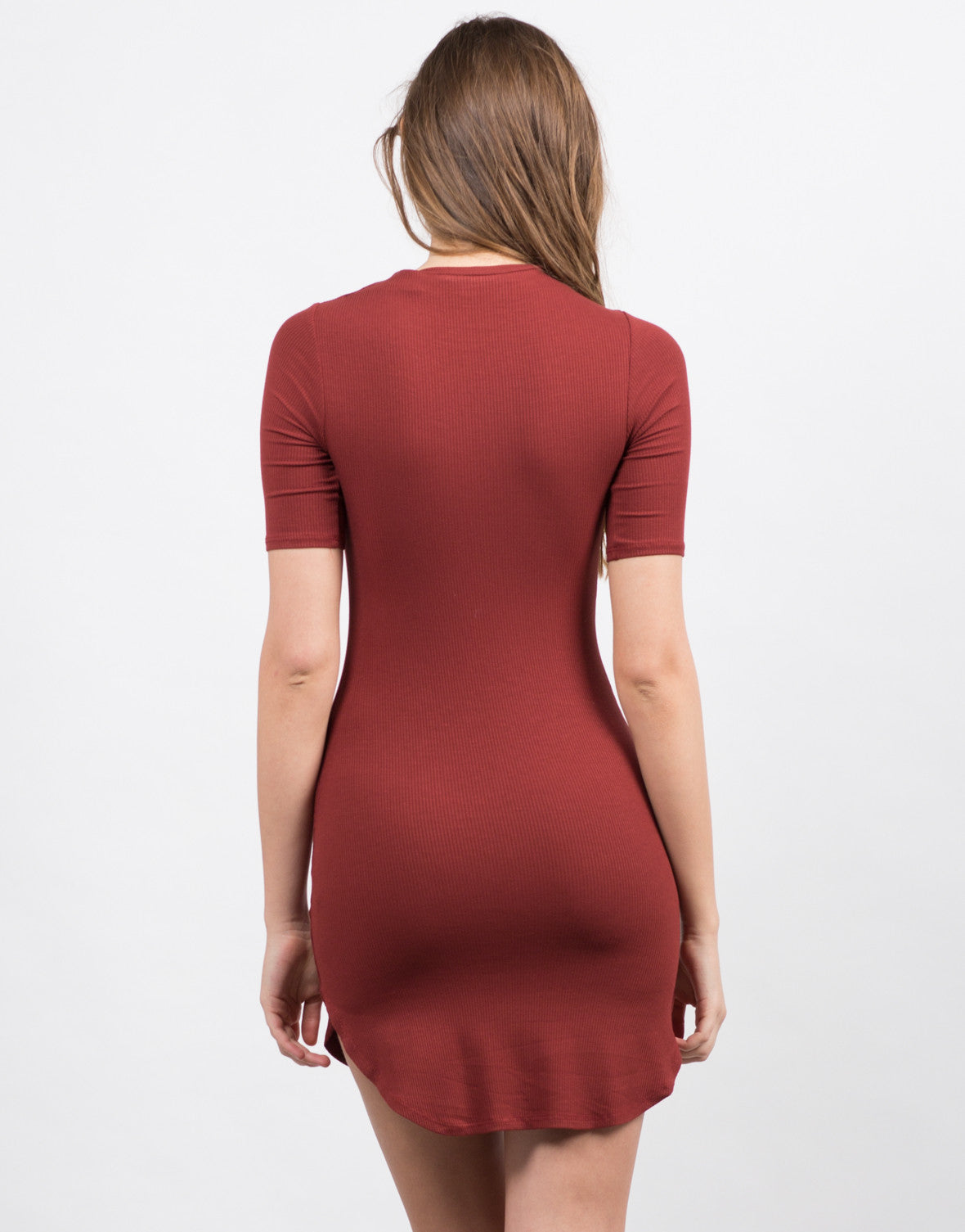 Back View of Ribbed City Mini Dress