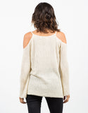 Back View of Ribbed Cold Shoulder Sweater Top