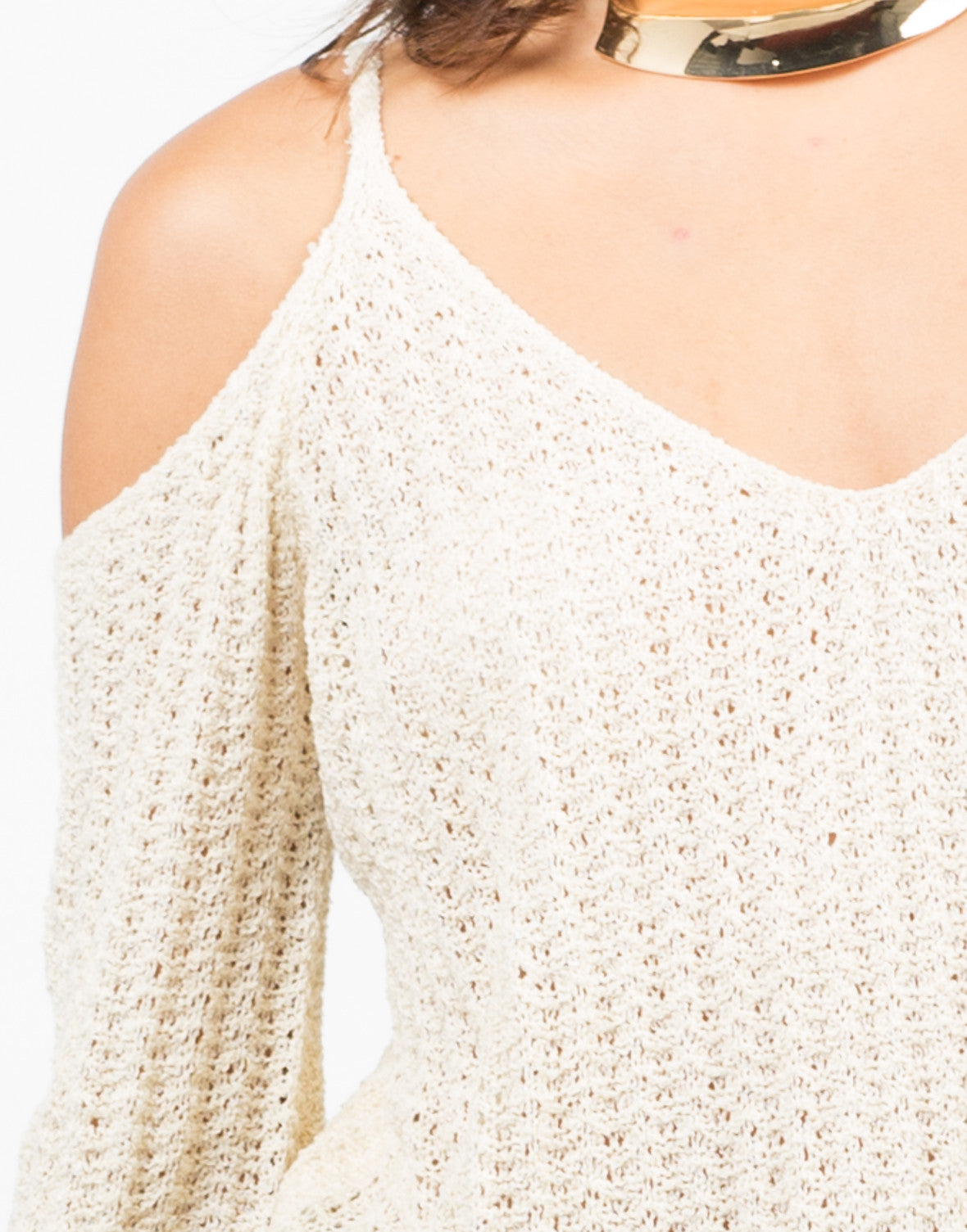 Detail of Ribbed Cold Shoulder Sweater Top