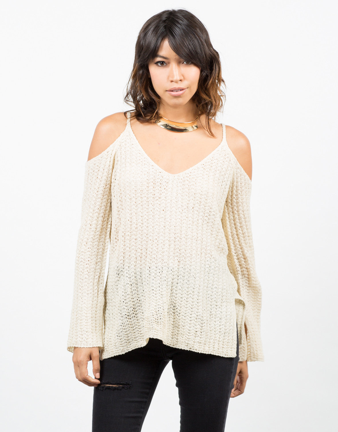Front View of Ribbed Cold Shoulder Sweater Top