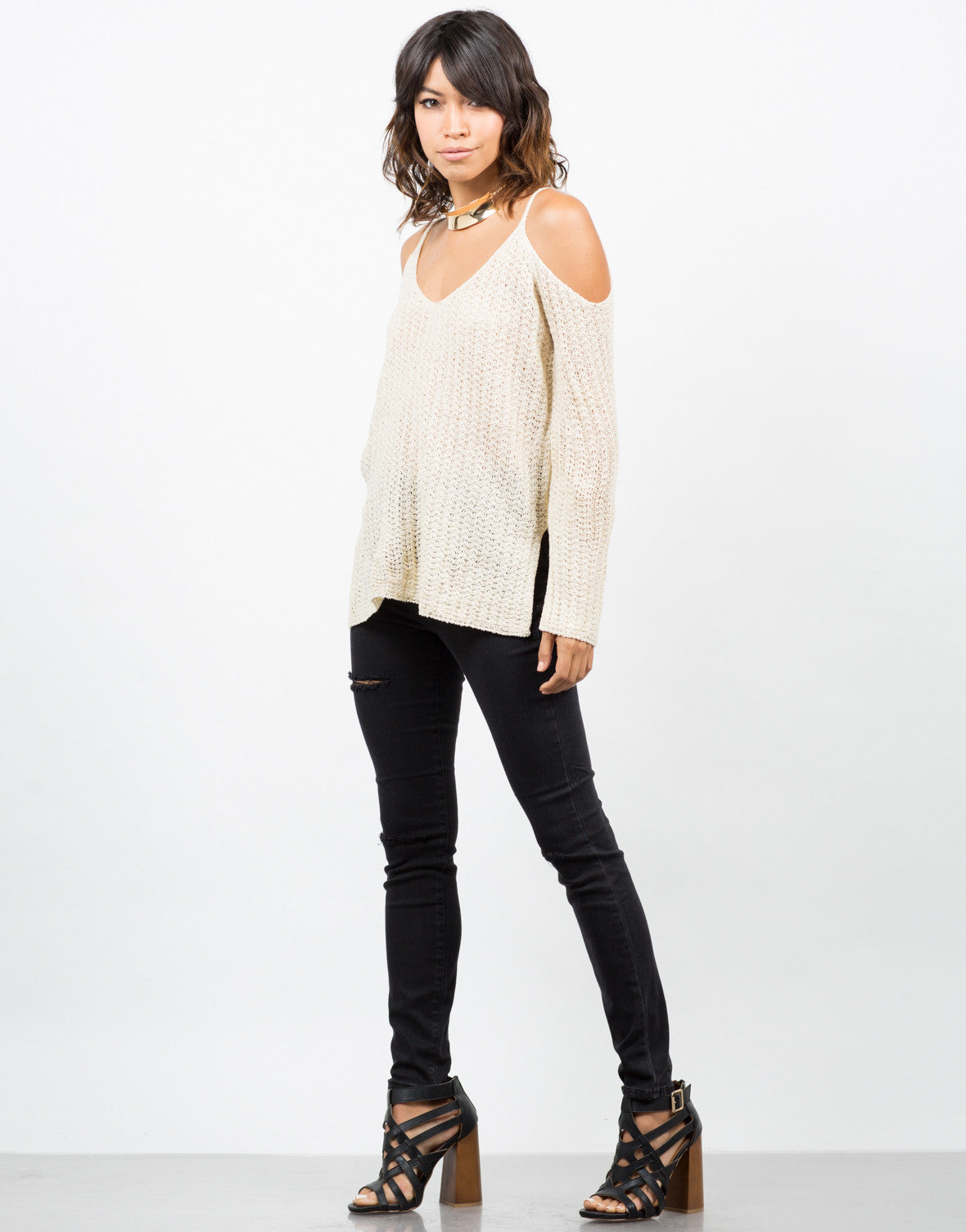 Side View of Ribbed Cold Shoulder Sweater Top