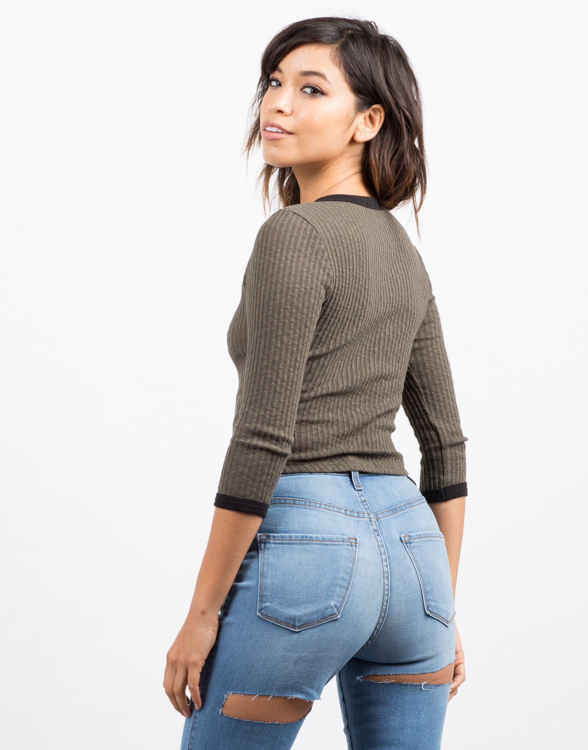 Back View of Ribbed Contrast 3/4 Top