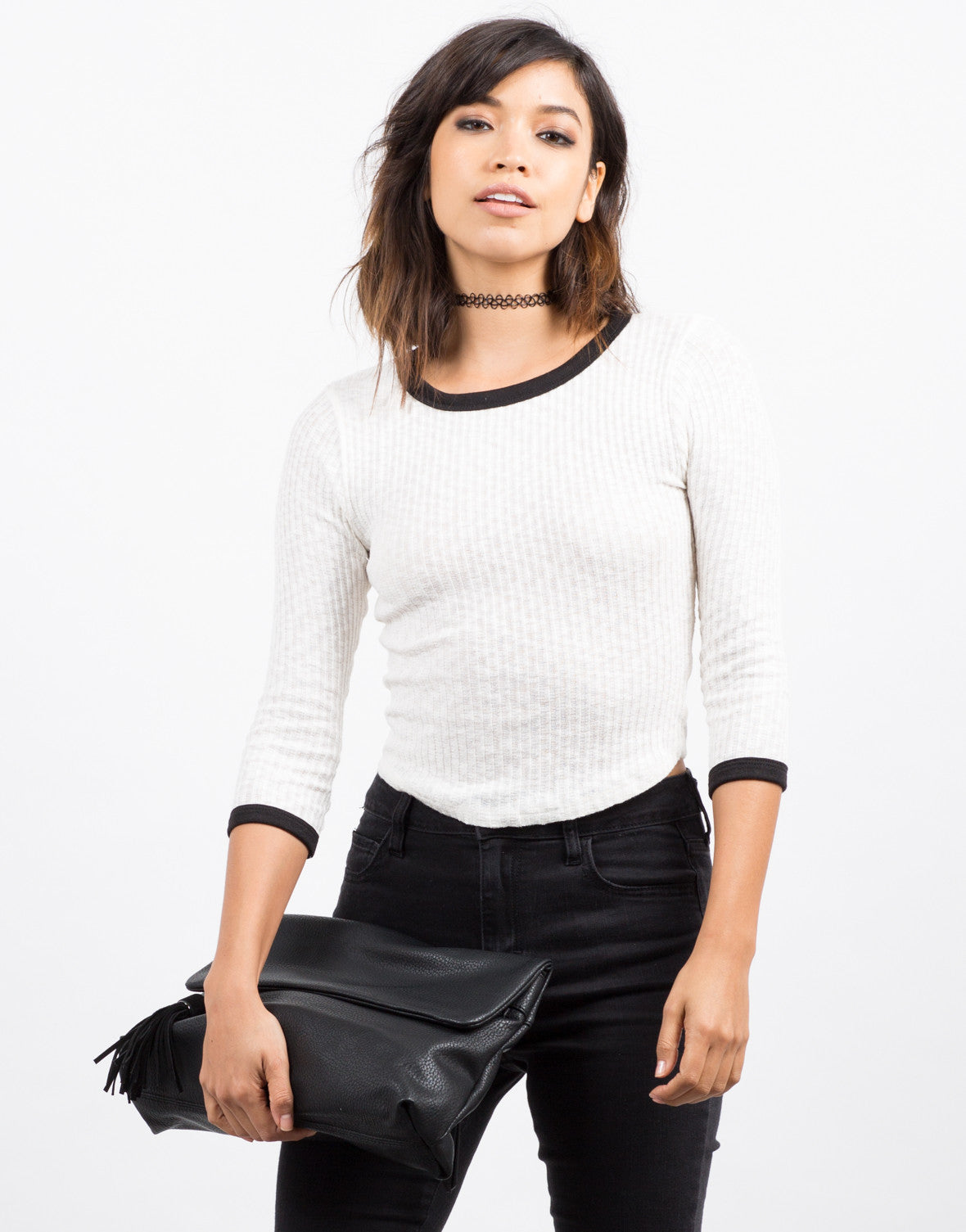 Ribbed Contrast 3/4 Top - 2020AVE