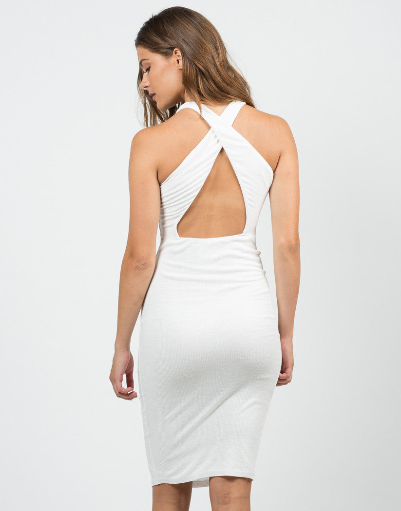 Back View of Ribbed Cross Back Dress