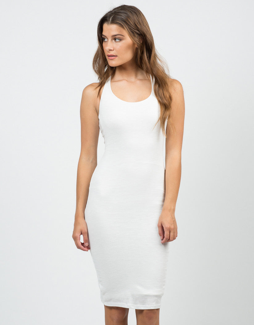 Front View of Ribbed Cross Back Dress