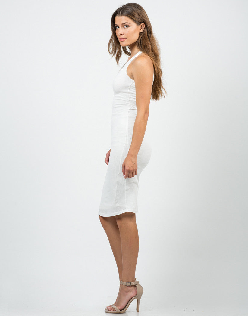 Side View of Ribbed Cross Back Dress