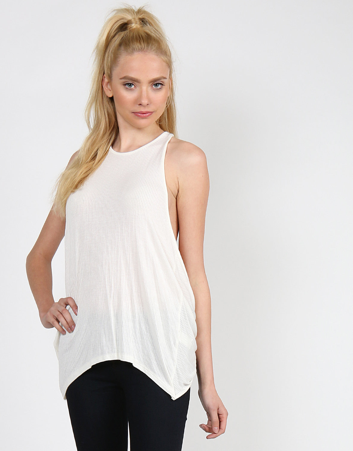 Ribbed Cross Back Tank - Off White