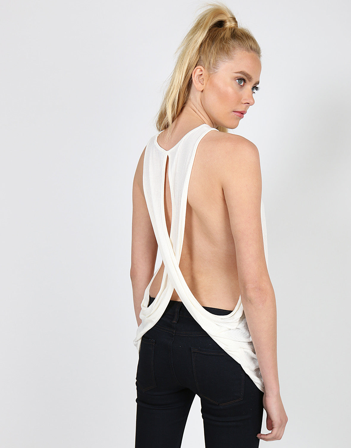 Ribbed Cross Back Tank - Off White - 2020AVE