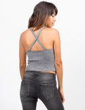 Back View of Ribbed Cross Back Top