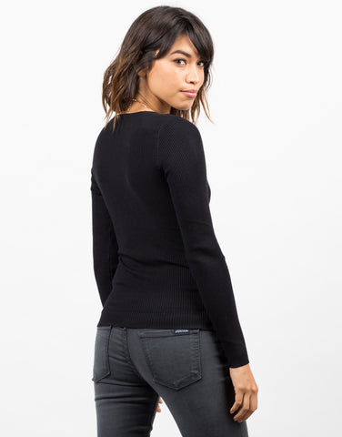 Back View of Ribbed Crossover Long Sleeve Top