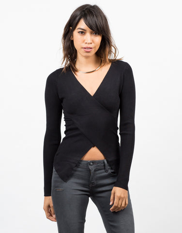 Front View of Ribbed Crossover Long Sleeve Top