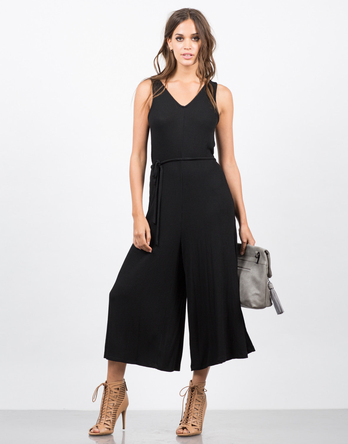 Front View of Ribbed Culotte Romper