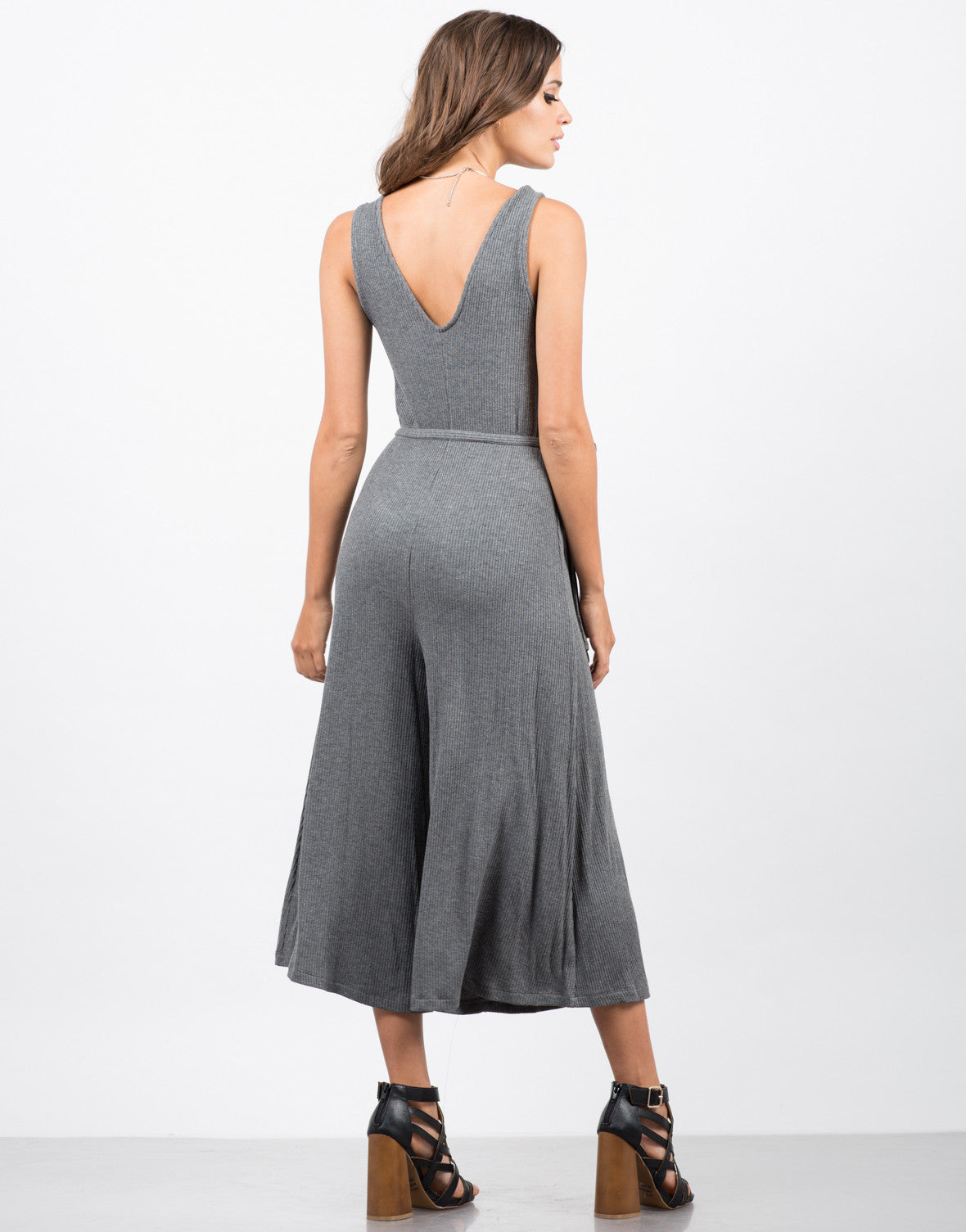Back View of Ribbed Culotte Romper