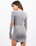 Ribbed Cut Away Sleeve Dress
