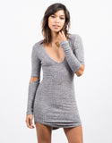 Front View of Ribbed Cut Away Sleeve Dress