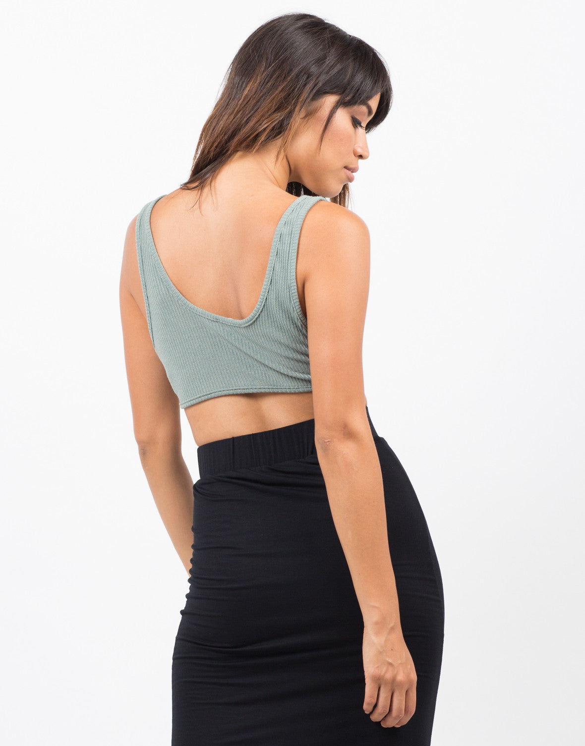 Back View of Ribbed Deep V  Cropped Top