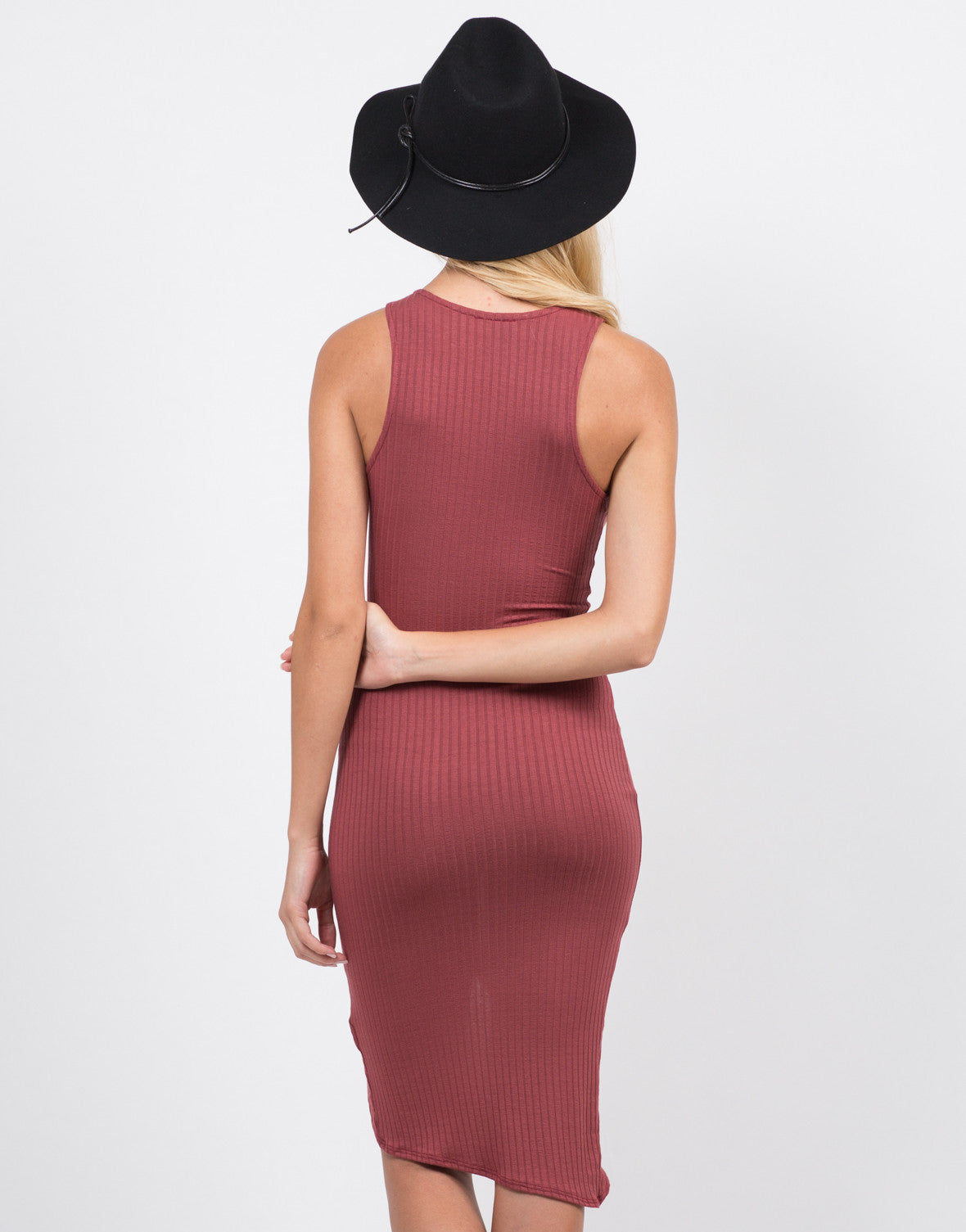 Back View of Ribbed Front Slit Dress