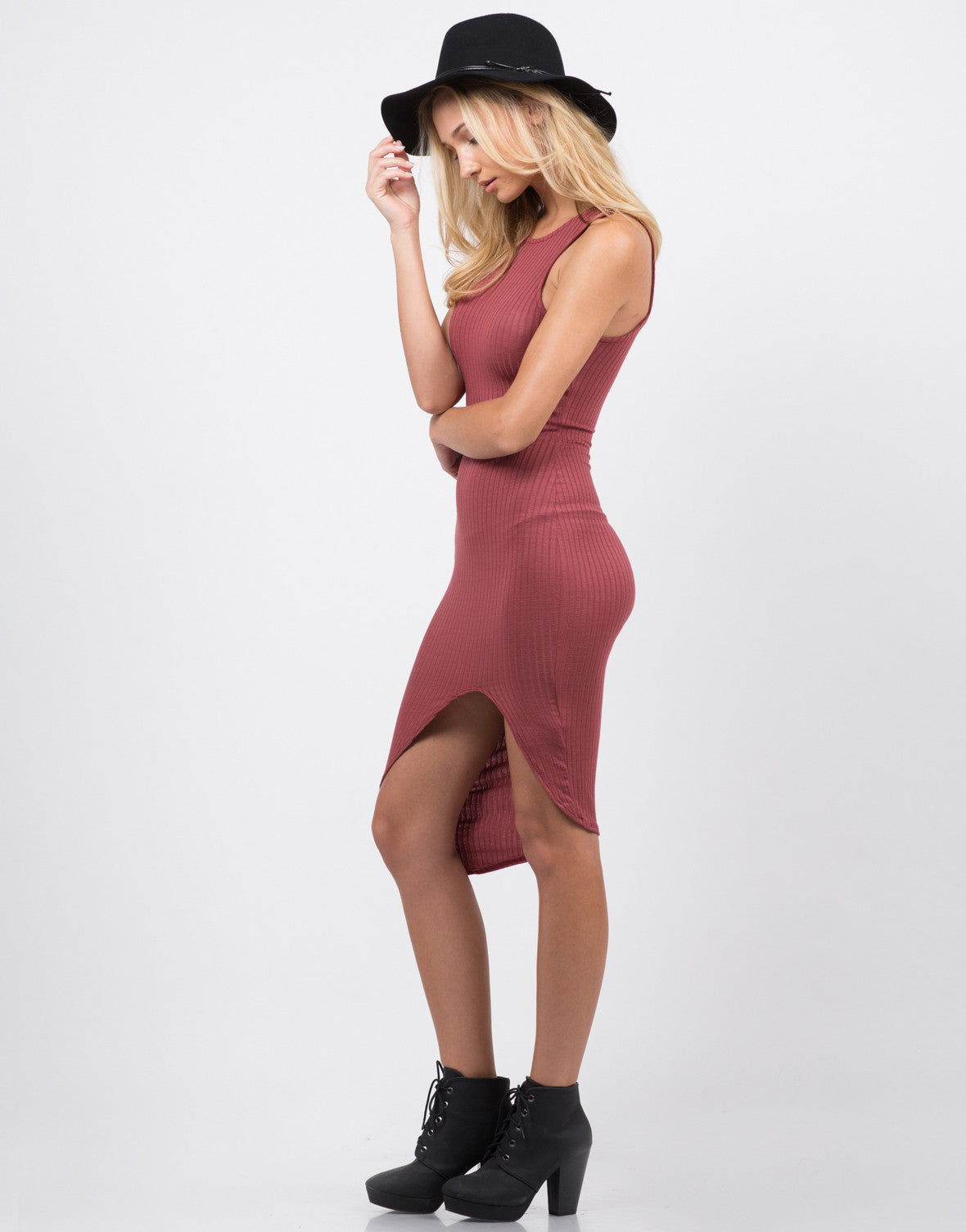 Side View of Ribbed Front Slit Dress