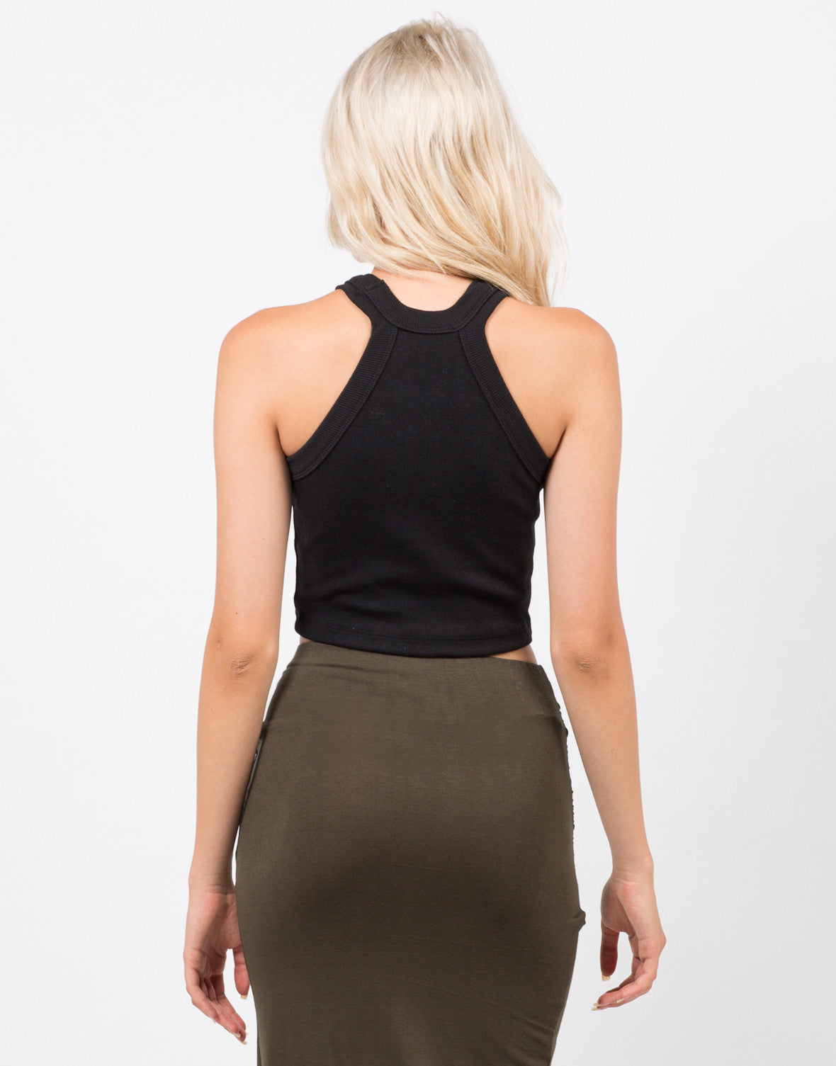 Back View of Ribbed Halter Crop Tank