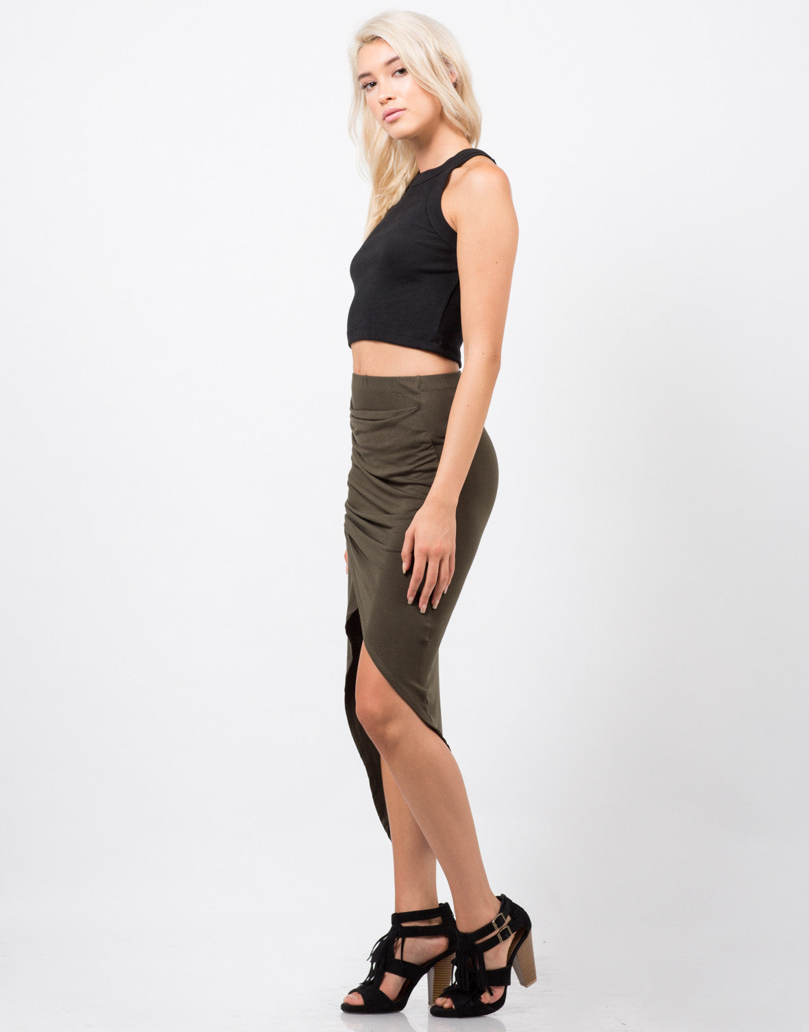 Side View of Ribbed Halter Crop Tank