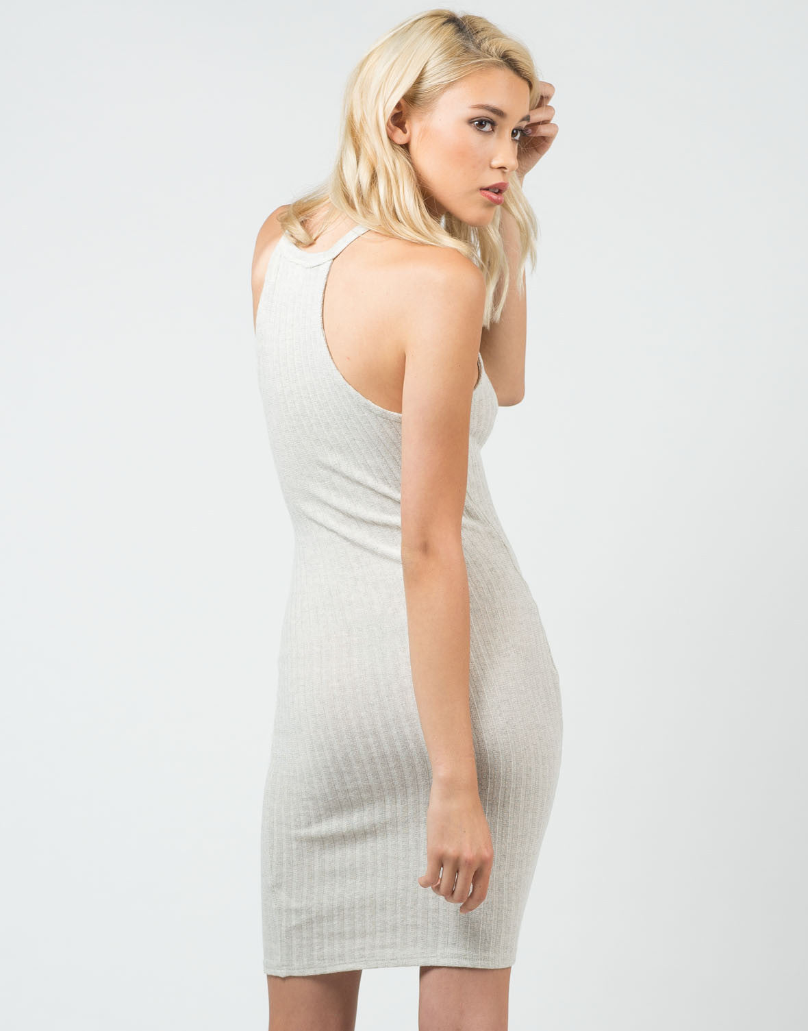 Back View of Ribbed High Neck Midi Dress
