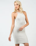 Front View of Ribbed High Neck Midi Dress