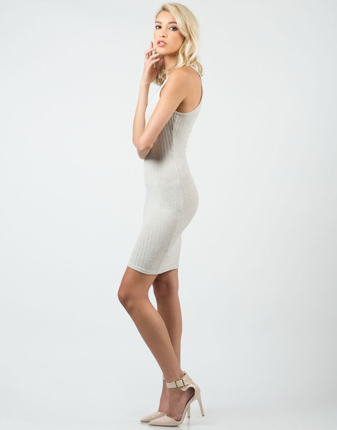 Side View of Ribbed High Neck Midi Dress