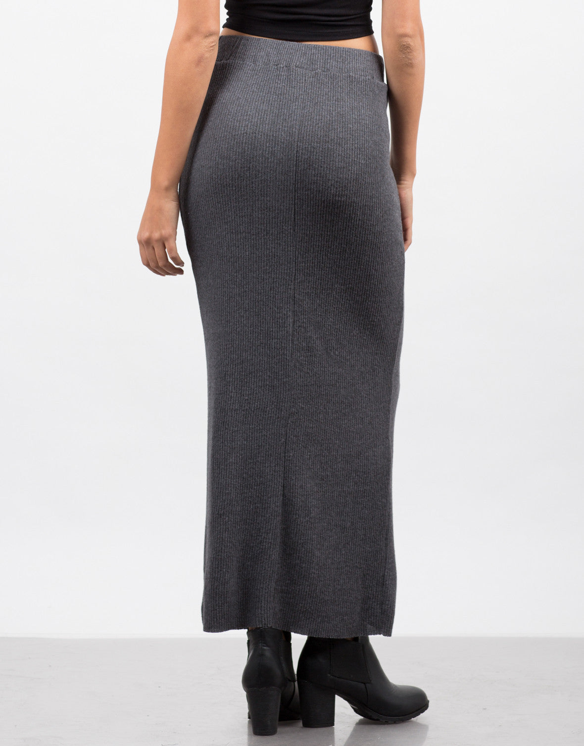 Back View of Ribbed Knit Maxi Skirt