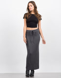 Front View of Ribbed Knit Maxi Skirt