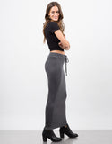 Side View of Ribbed Knit Maxi Skirt