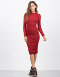 Front View of Ribbed Knit Midi Dress