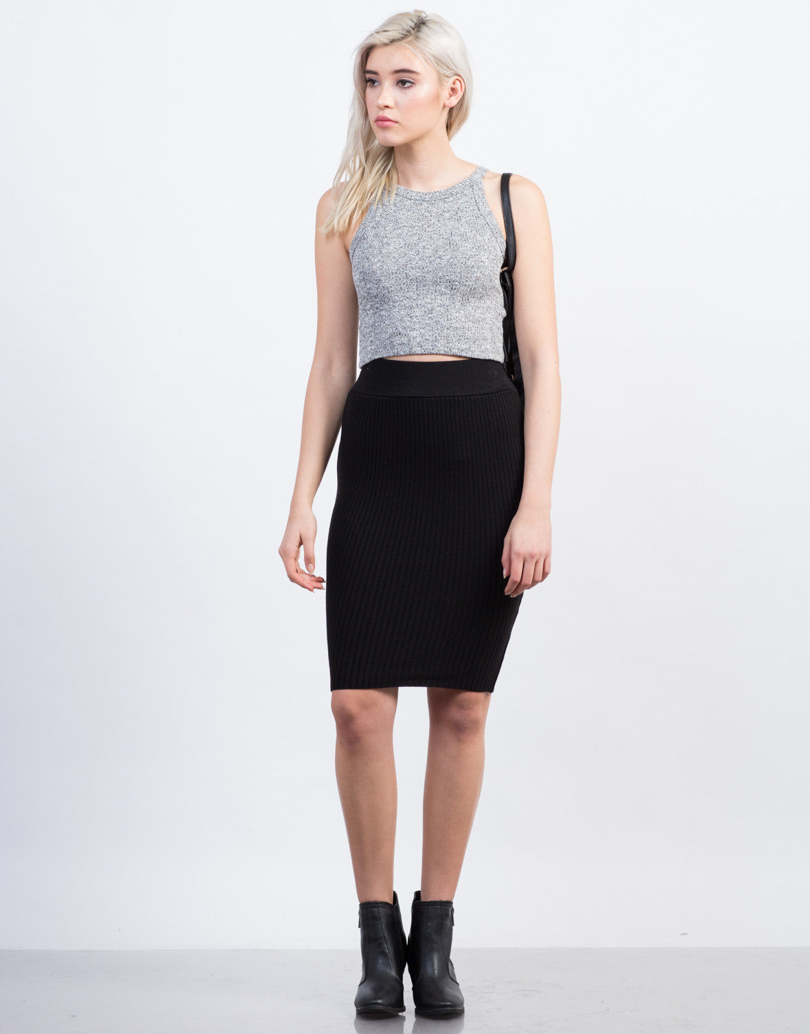 Front View of Ribbed Knit Skirt