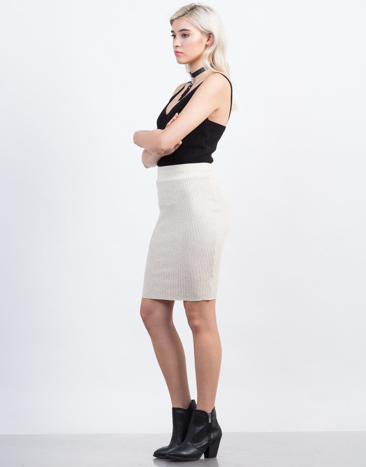Side View of Ribbed Knit Skirt