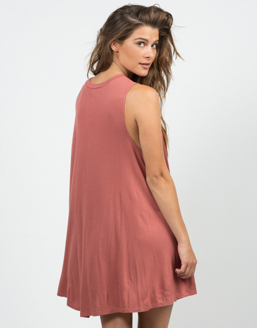 Back View of Ribbed Knit Swing Dress