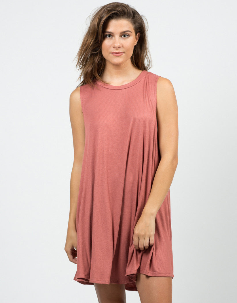 Front View of Ribbed Knit Swing Dress