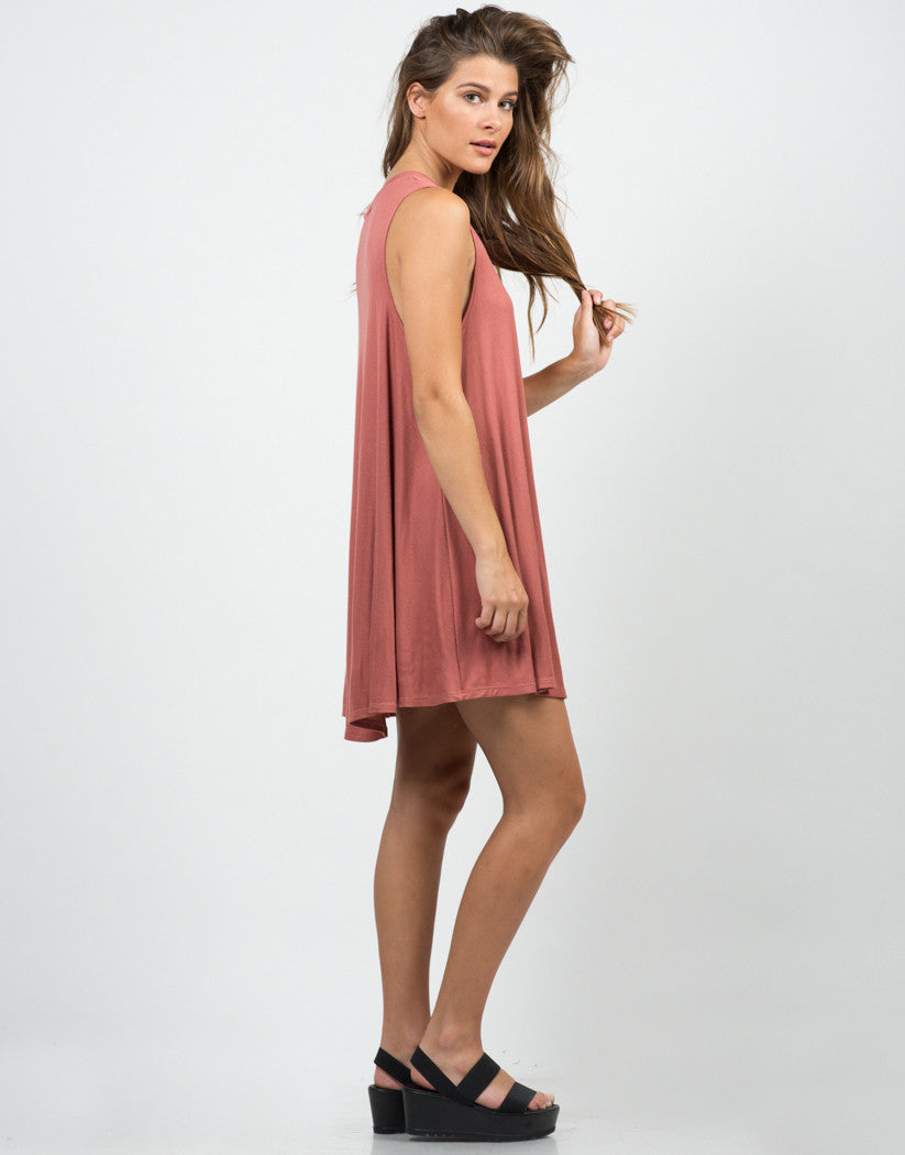 Side View of Ribbed Knit Swing Dress