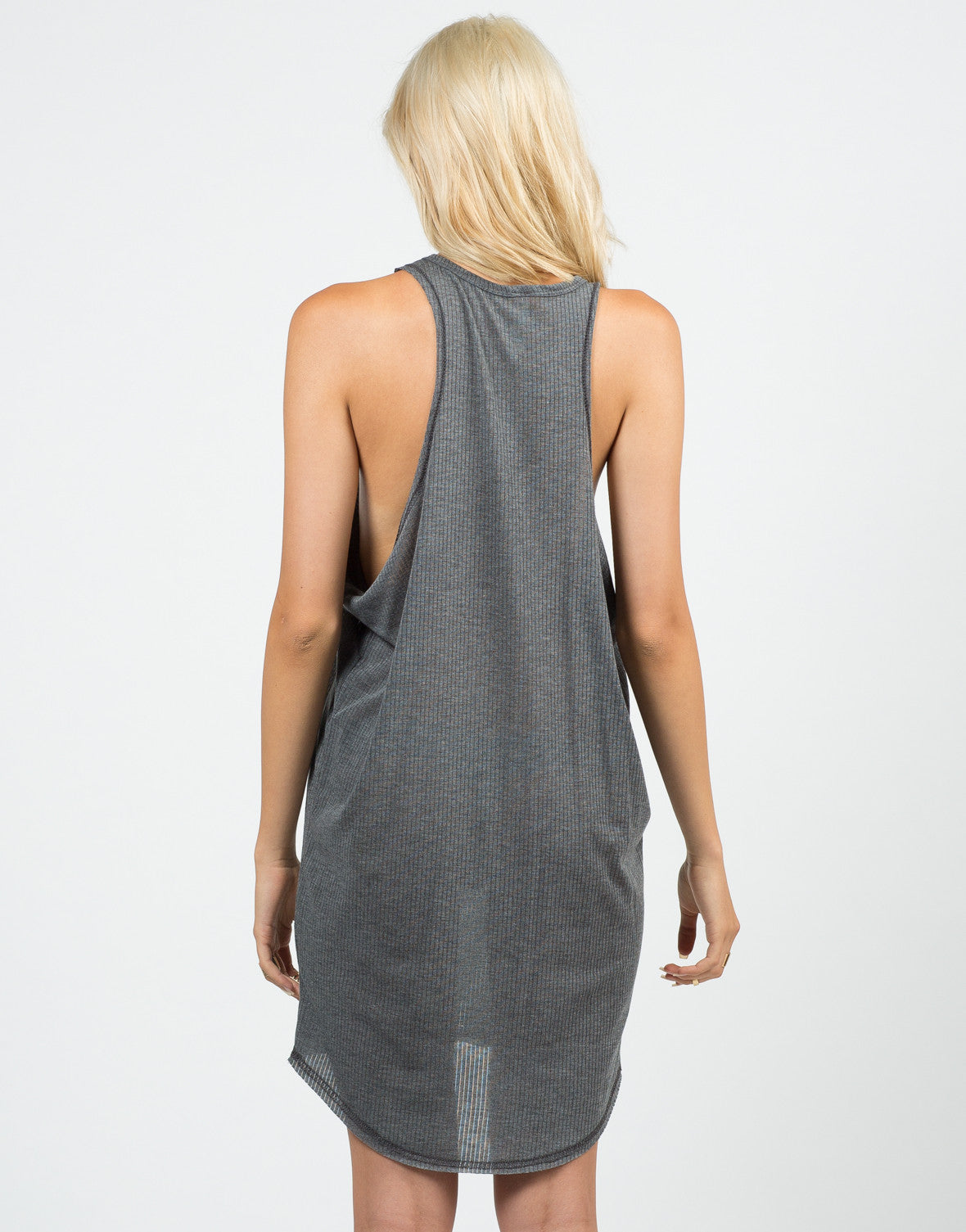 Back View of Ribbed Knitted Open Sides Dress
