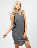Front View of Ribbed Knitted Open Sides Dress